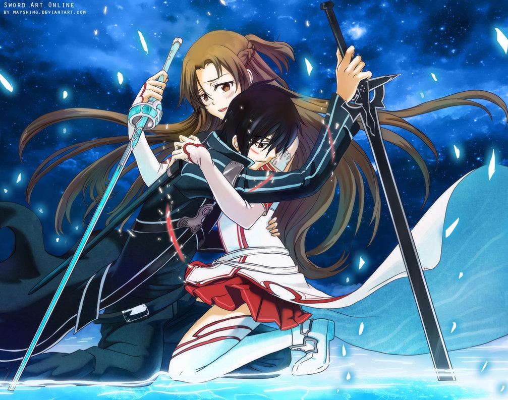 Sao Wallpaper Kirito And Asuna Sunset Google Search Sword Art